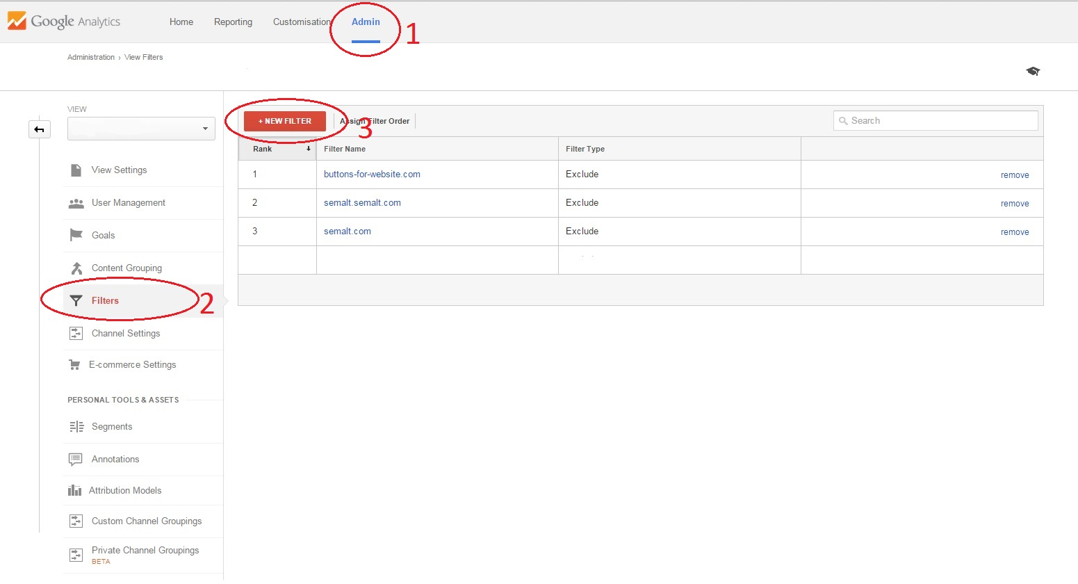 Adding filters on Google analytics