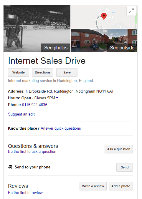 Internet Sales Drive's Google My Business Listing