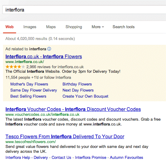 Interflora Banned from their own branded search